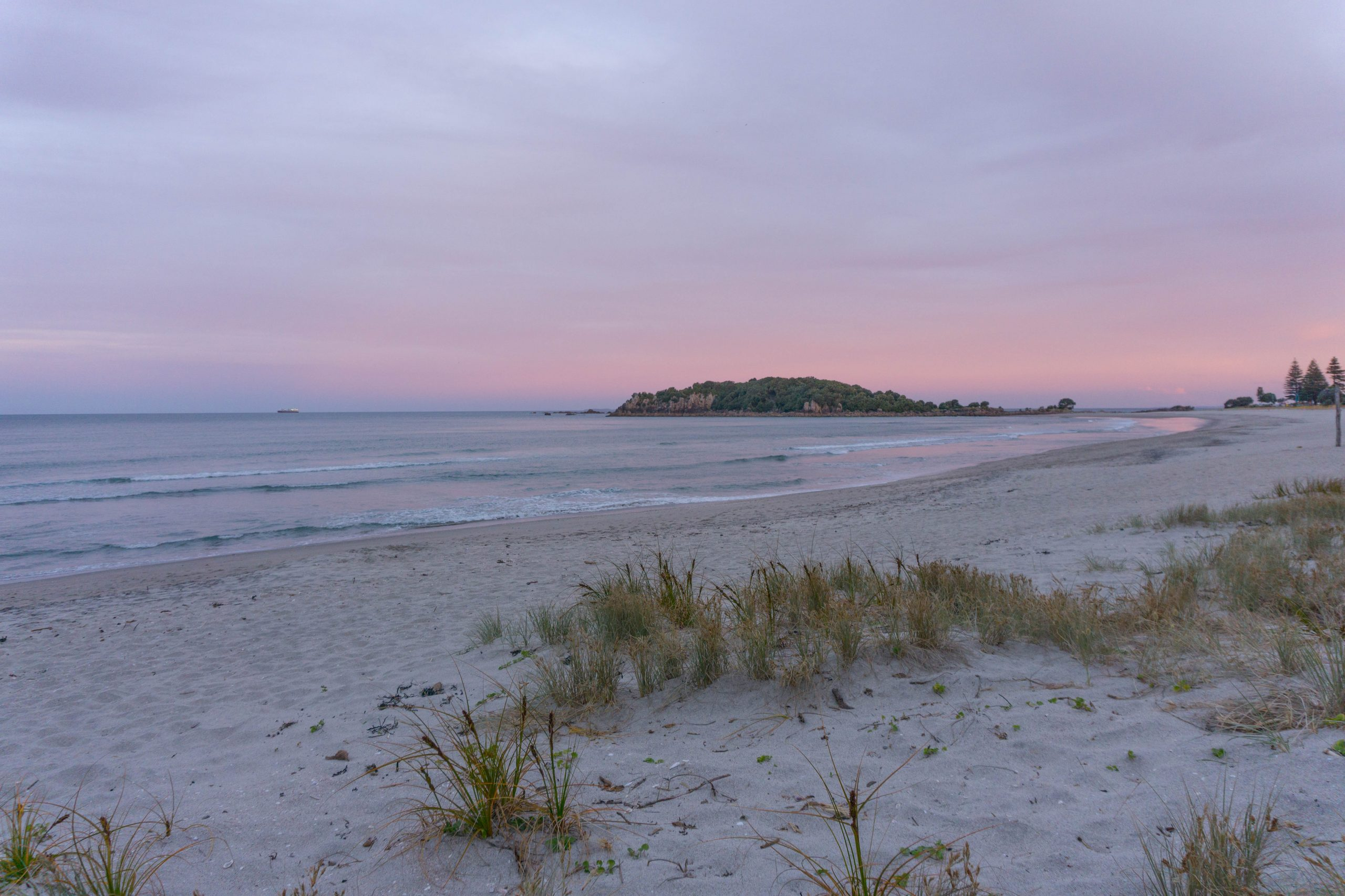 Mount Maunganui beach at sunset