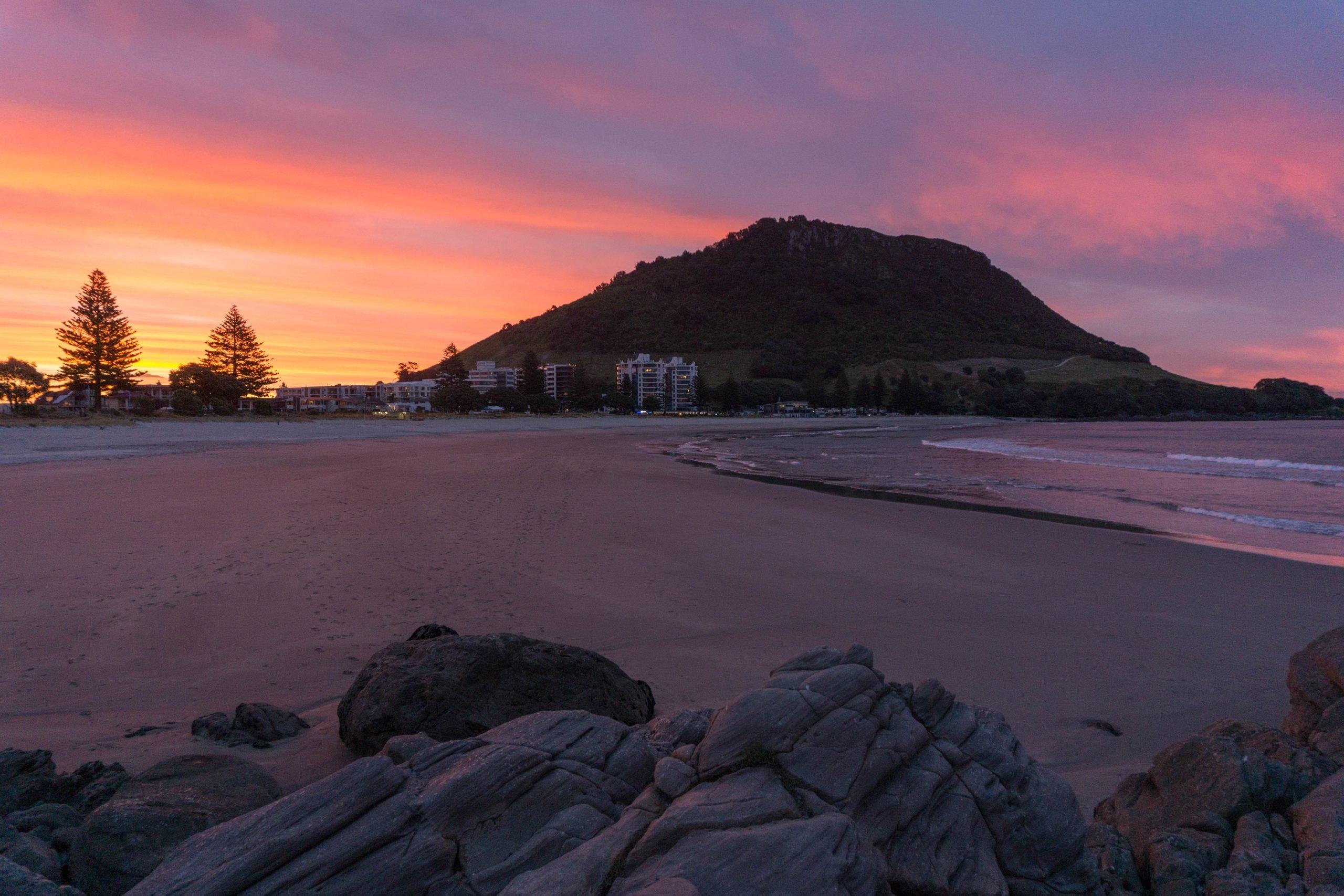 Mount Maunganui beach sunset