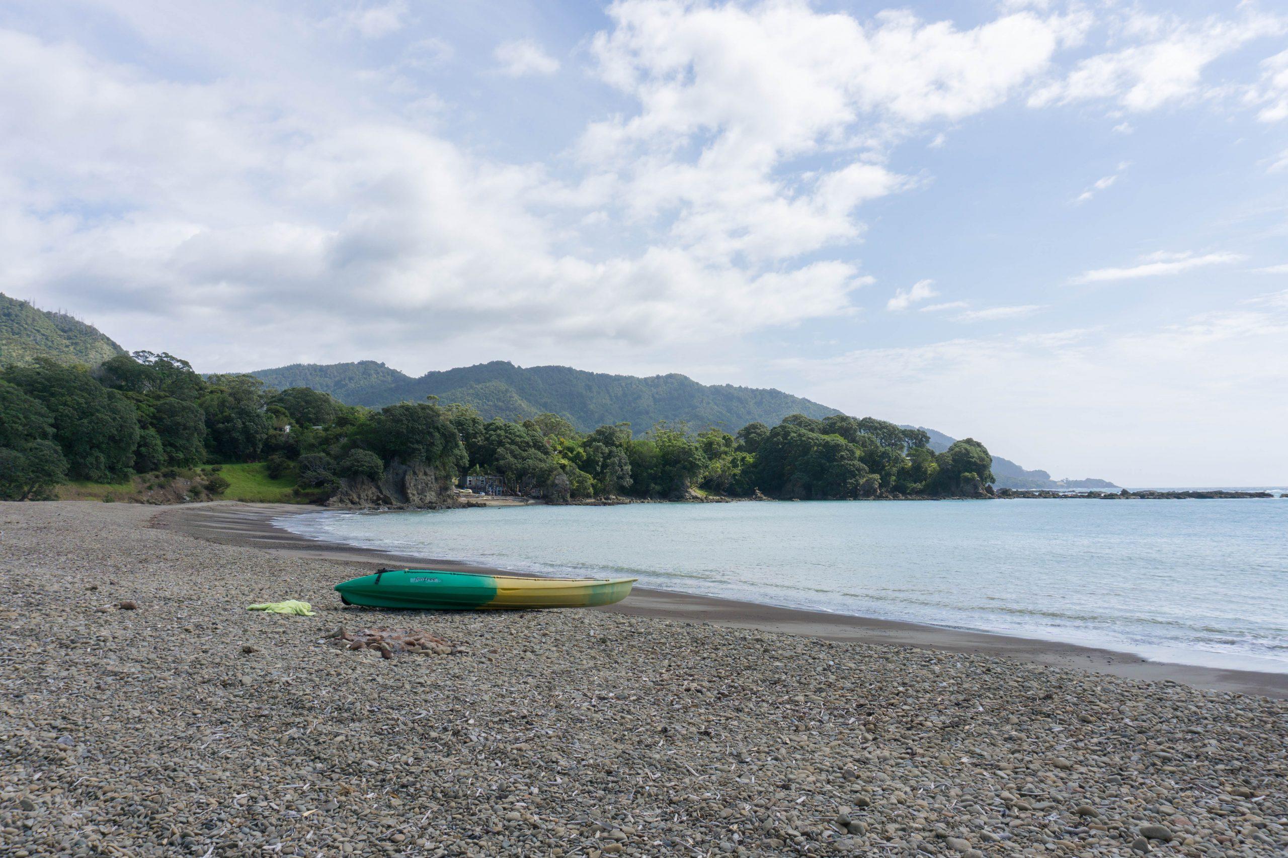 Maraehako campground beach and kayak