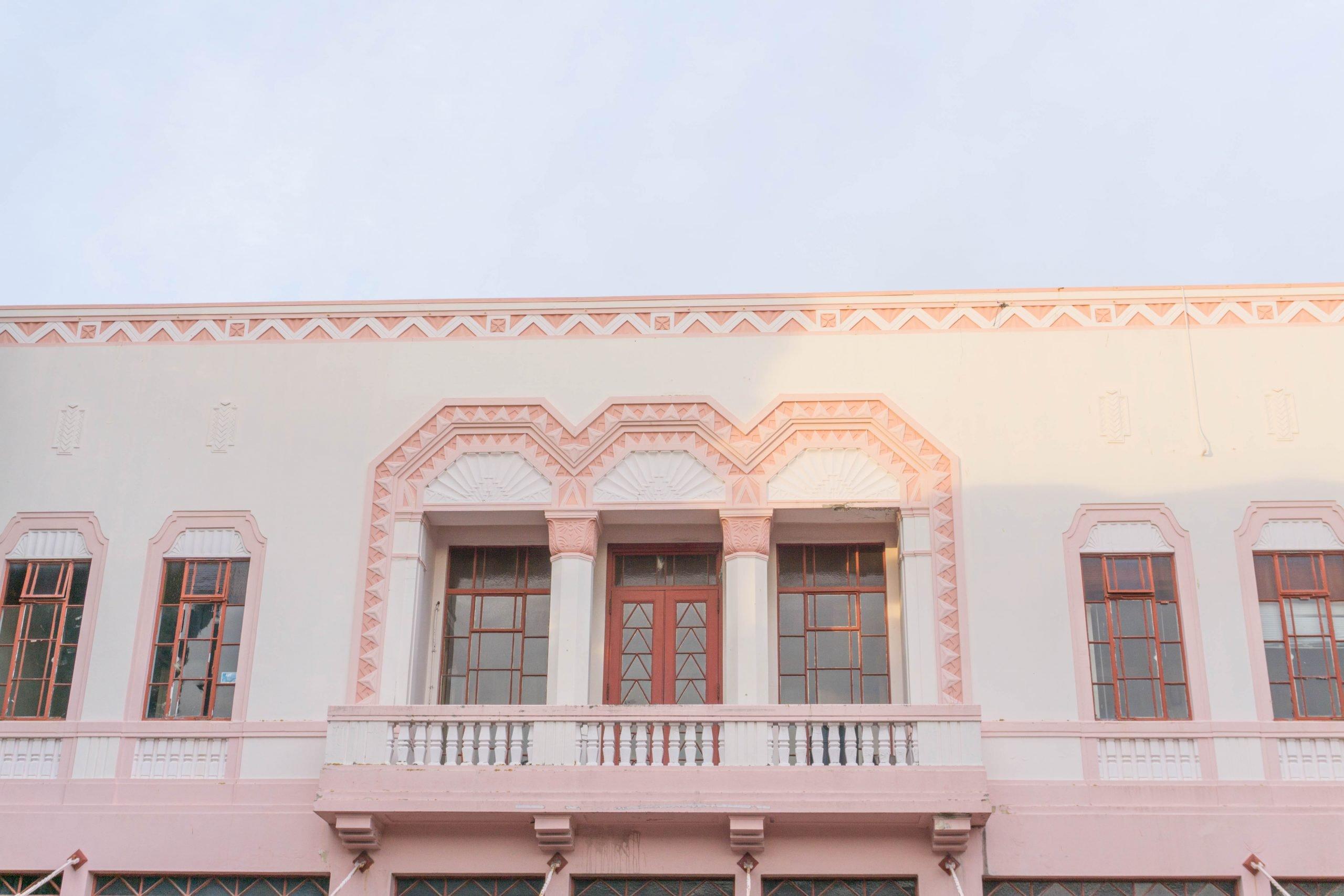 Pink art deco building in Napier