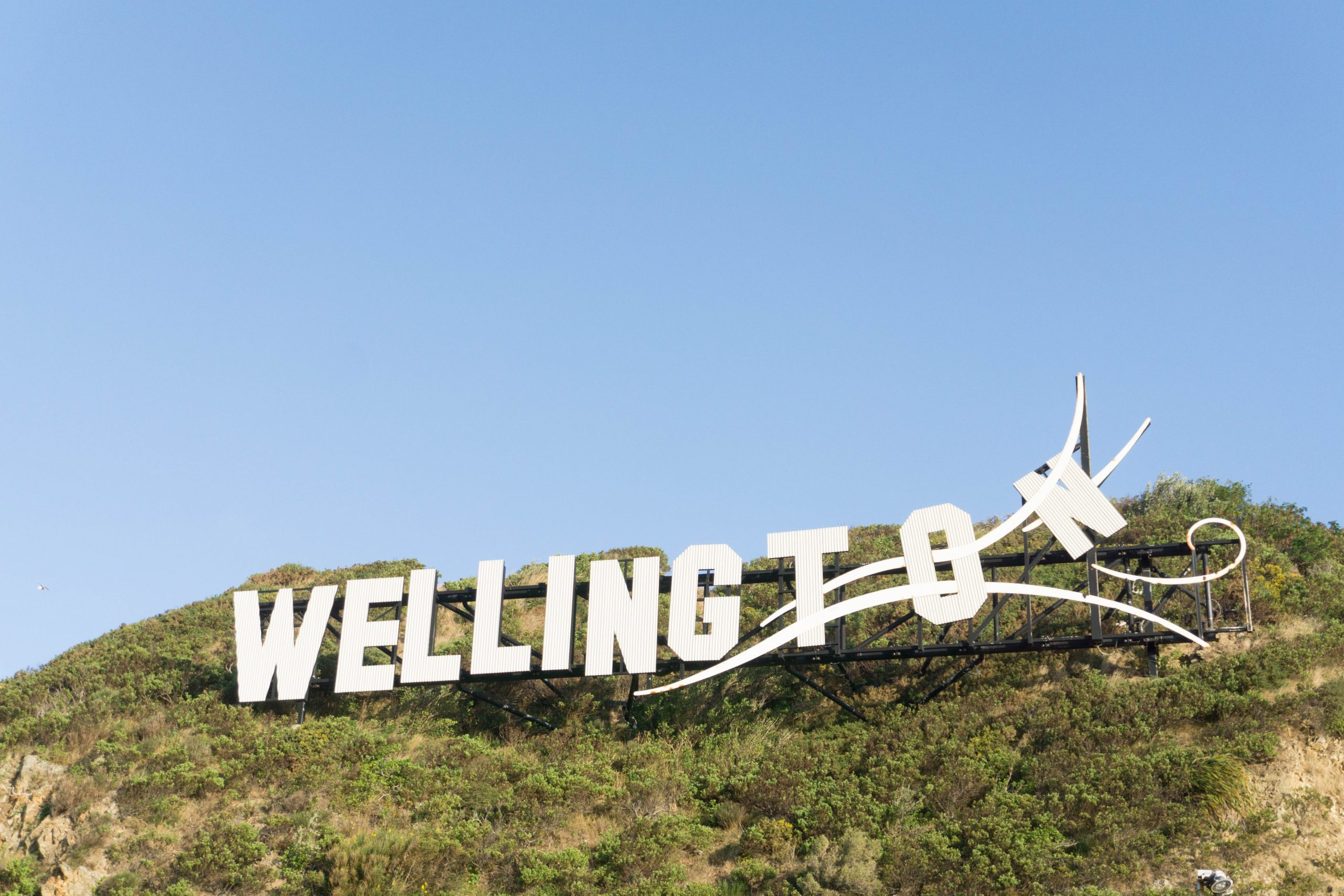 Blowing Away Wellington Sign